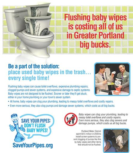 Save Your Pipes - Dont Flush Those Wipes Flyer