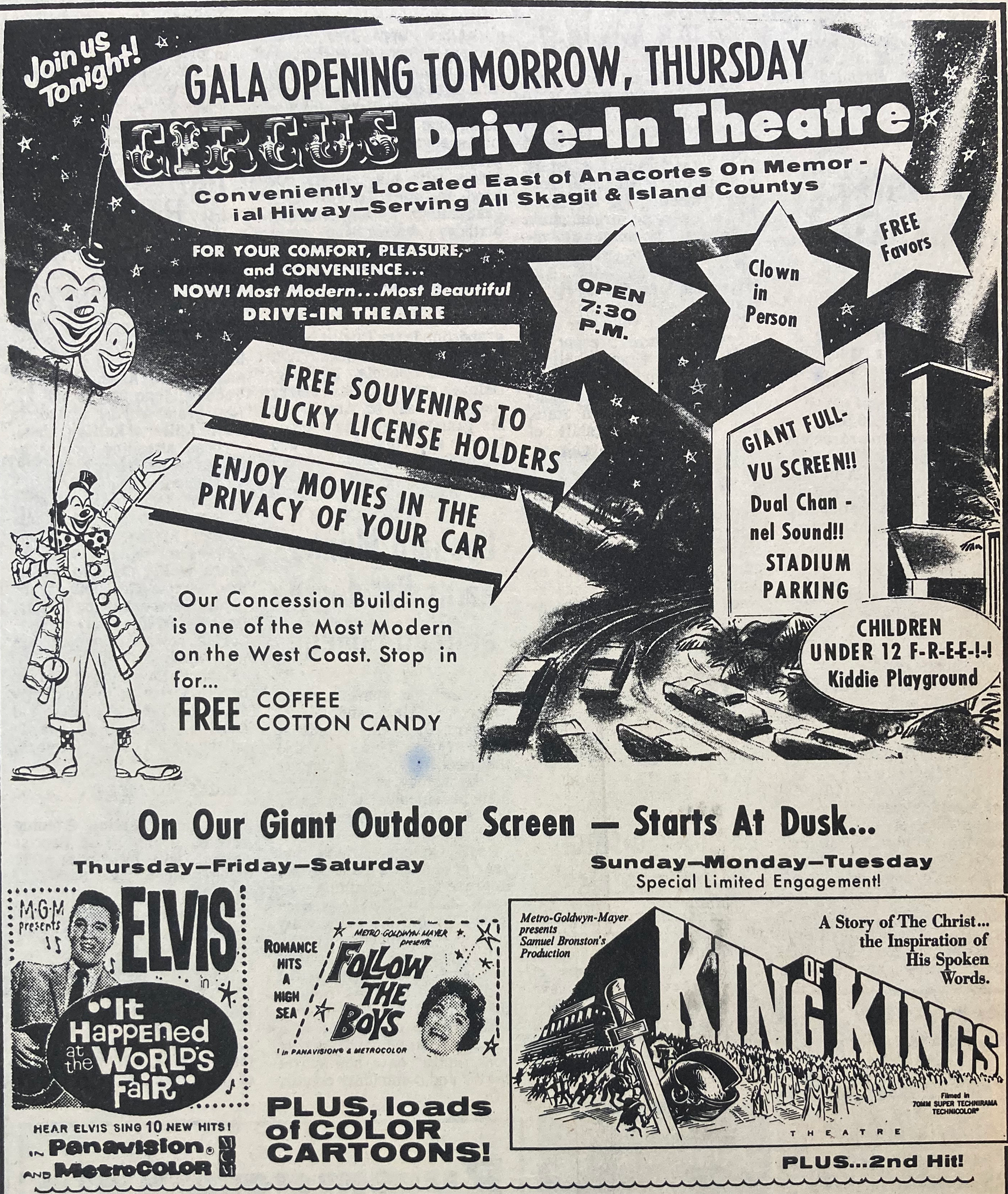 Circus Drive-in 1963 opening ad June V2